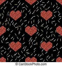 seamless red pixel heart with silver and gold glitter pattern on black background.