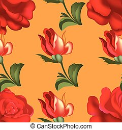 Seamless red roses pattern. Vector illustration