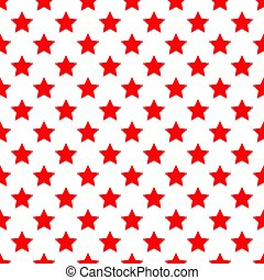 Seamless red stars on white