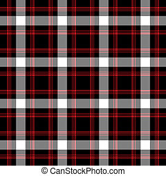 Bright bold plaid in red, white, and black.