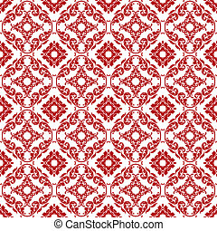 Seamless Red & White Damask Pattern