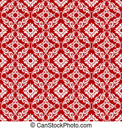 Seamless Red & White Damask Pattern