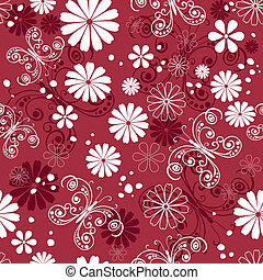 Seamless red-white floral pattern