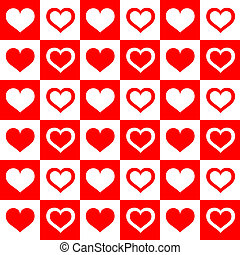 Seamless red white hearts