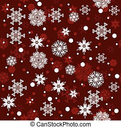 Seamless red winter snowflakes pattern background