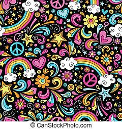 seamless, regenbogen, doodles, muster