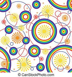 seamless., regenboog, achtergrond.