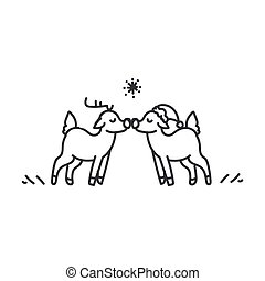 Seamless reindeer couple illustration clipart. Simple gender neutral nursery festive scrapbook sticker. Kids whimsical cute hand drawn cartoon christmas snow deer motif.