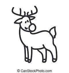 Seamless reindeer illustration clipart. Simple gender neutral nursery festive scrapbook sticker. Kids whimsical cute hand drawn cartoon christmas snow deer motif.