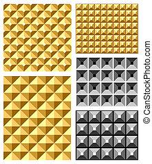 Seamless relief patterns set. Vector art.
