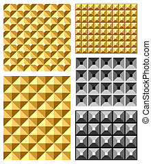 Seamless relief patterns set. Vector art.