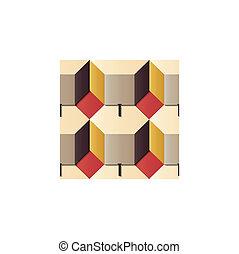 Seamless relief sculpture decoration retro pattern 3D polygon box geometry cross
