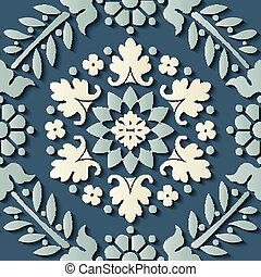 Seamless relief sculpture decoration retro pattern blue...