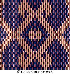 Seamless relief sculpture decoration retro pattern geometry mosaic pixel cross frame kaleidoscope