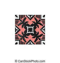 Seamless relief sculpture decoration retro pattern mosaic pixel cross plant leaf geometry check line