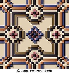 Seamless relief sculpture decoration retro pattern mosaic pixel cross polygon check kaleidoscope