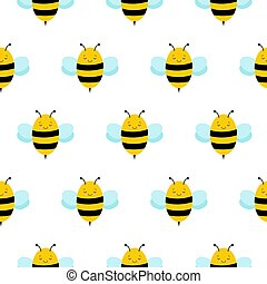 Seamless Repeat Pattern with Cute Cartoon Flying Bumble Bees...