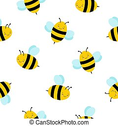 Seamless Repeat Pattern with Cute Flying Bumble Bees ...