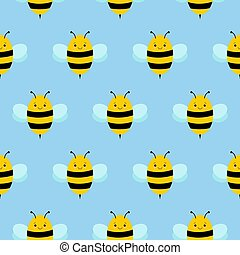 Seamless Repeat Pattern with Flying Bumble Bees Background Kawaii style