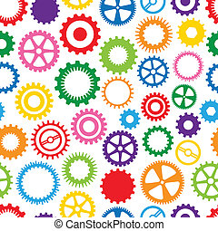 Colorful Cog Background - Seamless, Repeating Colorful Cog...