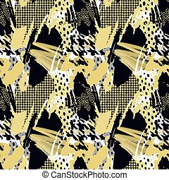 Seamless repeating hand craft expressive ink pattern