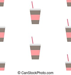 Seamless repeating Pattern with coffee cup on white...