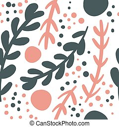Seamless repeating pattern with floral elements in pastel colors