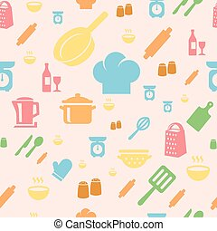 Seamless repetitive pattern with kitchen items in retro style.