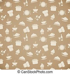 Seamless restaurant menu pattern background vector...