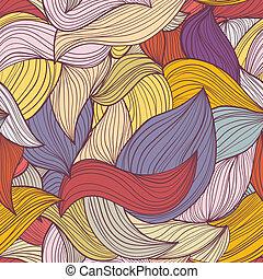 seamless, resumen, hand-drawn, ondas, patrón
