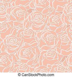 seamless, resumen, plano de fondo, con, roses., vector, patrón