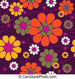 Seamless retro background with flowers