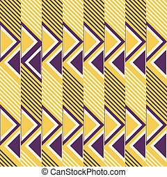 Seamless retro colored pattern of diagonal lines and triangles