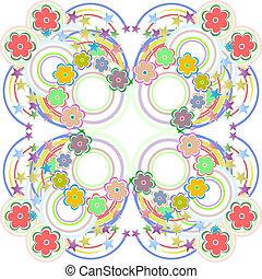 Seamless retro colourfull flower pattern in vector