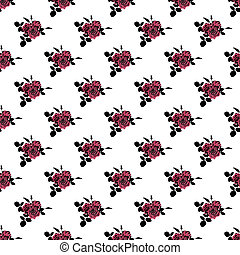 Seamless retro flowers of red roses pattern background