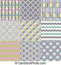 seamless, retro, geometrisch, tapete