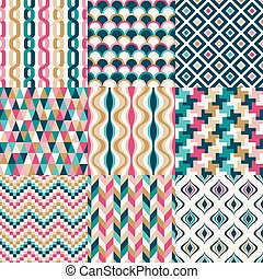 seamless, retro, geometrisches muster