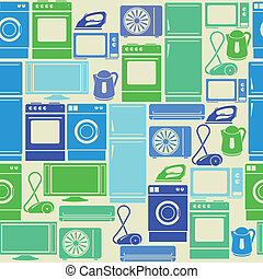 Seamless retro green pattern with domestic electric...