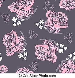 seamless, retro, kwiatowy, róża, próbka