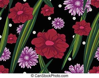 seamless, retro, model, met, roze, en, purpere bloemen