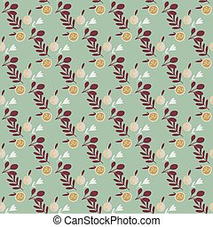 Seamless retro organic pattern with maroon leaves and apple ornament. Blue background.