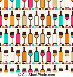 seamless, retro, padrão, com, garrafas vinho, e, glasses.