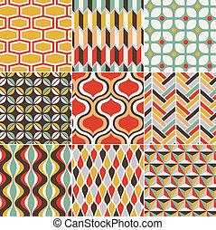 seamless, retro, padrão