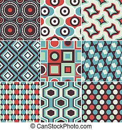 seamless, retro, patrón geométrico