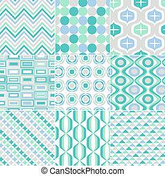 seamless, retro, patrón, impresión