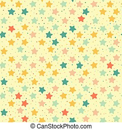 Seamless retro pattern of colored stars