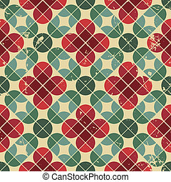 Seamless retro pattern, vector tiles background with messy...