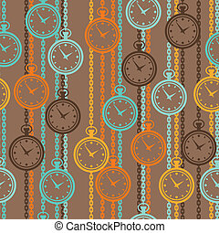 Seamless retro pattern with watches in flat style.