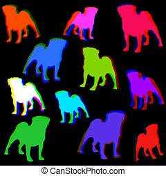 Seamless Retro Pug Dog Pattern Background