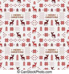 seamless retro red christmas pattern with deers, trees and snowflakes
